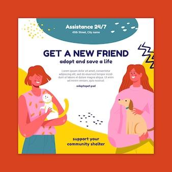 Adopteer een flyer voor huisdieren in het kwadraat
