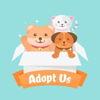 Adopteer een geïllustreerd huisdierenconcept