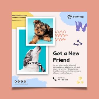Adopteer een huisdier-kwadraat-flyer met hondenfoto's