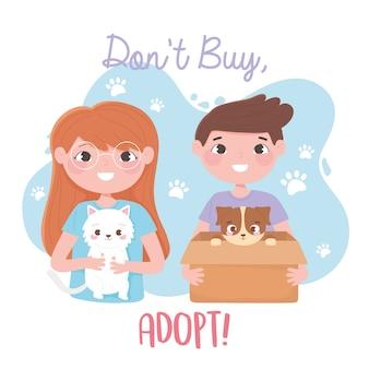 Adopteer een huisdier, meisje met witte kat en jongen met hond in doosillustratie