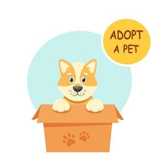 Adopteer een huisdier. schattige puppy in de doos. in vlakke stijl.