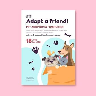 Adopteer een huisdier uit de sjabloon van een shelter-flyer
