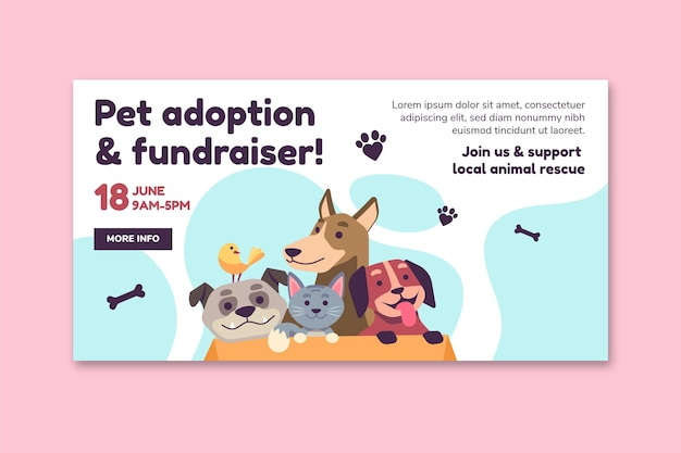 Adopteer een huisdier uit de websjabloon van de banner van het asiel