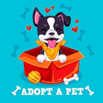 Adopteer een huisdierbericht met geïllustreerde schattige hond