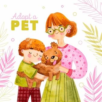 Adopteer een huisdierbericht met vrouw en zoon die een hond knuffelen