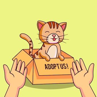 Adopteer een huisdierconcept met kat in doos