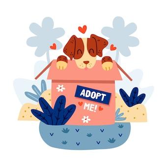 Adopteer een huisdierconceptbericht met schattige hond