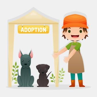 Adopteer een huisdierenconcept met vrouw en honden