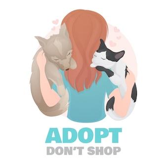 Adopteer een illustratie van een huisdier