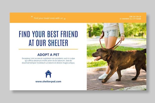 Adopteer een sjabloon voor een horizontale banner voor huisdieren