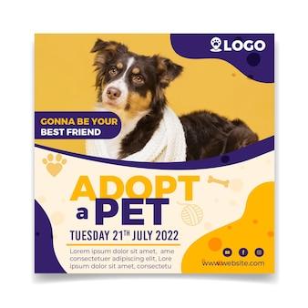 Adopteer een sjabloon voor een vierkante flyer voor huisdieren