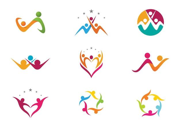 Adoptie en gemeenschapszorg logo sjabloon vector pictogram