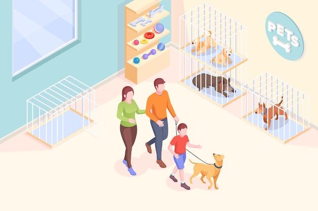 Adoptie van huisdieren, familie haalt hond uit asiel, isometrisch. familie moeder en vader met zoon bij dierenasiel om hond te adopteren, huisdieren nemen mee naar huis, redden en helpen concept