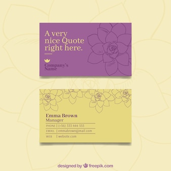 Adreskaartje met elegante bloemen