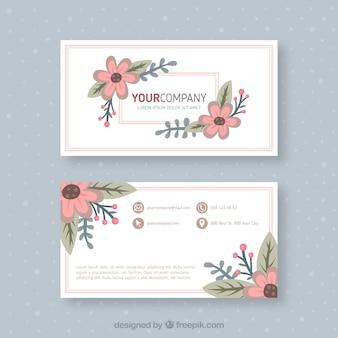 Adreskaartje met handgetekende bloemen