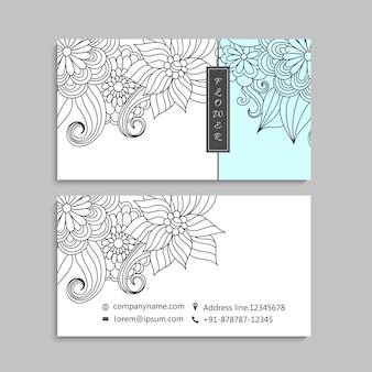 Adreskaartje met mooie bloemen. sjabloon