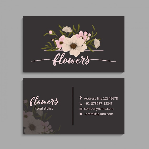 Adreskaartje met mooie bloemen.