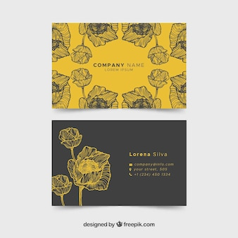 Adreskaartje met schetsen van bloemen