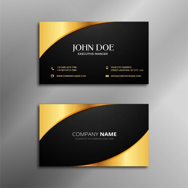 Adreskaartje zwart en gouden ontwerp