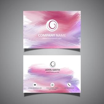 Adreskaartjesjabloon met een verfslagen ontwerp