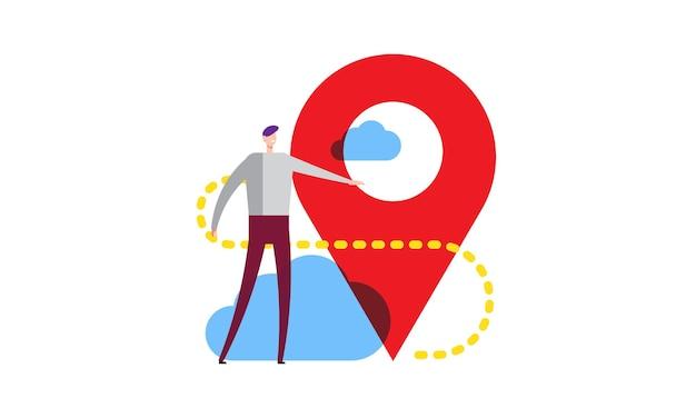 Adresnavigatie controleren van zakenman die in de buurt van kantoorlocatie staat vectorillustratie