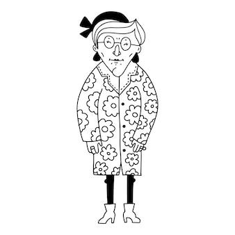 Aduld senior zelfverzekerde dame lichte kleding en accessoires oude en volwassen vrouw in trendy ...