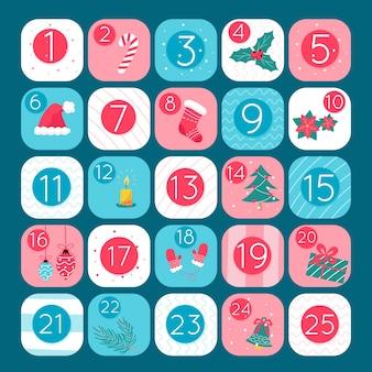Advent kalender sjabloon plat ontwerp