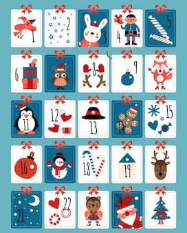 Advent kalender. winterkerstnummers, leuke verrassende kaarten. xmas aanwezig dier, santa claus sneeuwvlokken. december cadeau vectorillustratie. groetdecoratie tot kerstvakantie, kalendernummer