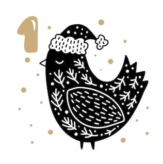 Advent kerstkalender eerste dag met schattige scandinavische handgetekende vector wintervogel