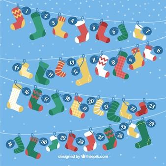 Adventskalender met kleurrijke sokken