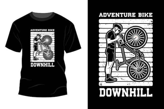 Adventure bike downhill t-shirt mockup ontwerp silhouet