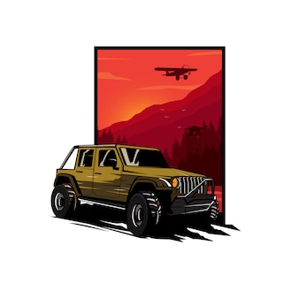 Adventure car illustratie