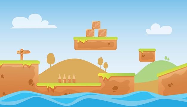 Adventure game illustratie op natuur achtergrond premium