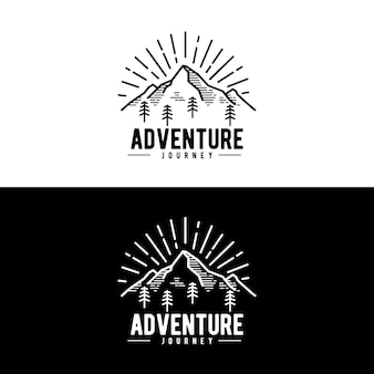 Adventure mountain jorney logo ontwerpconcept