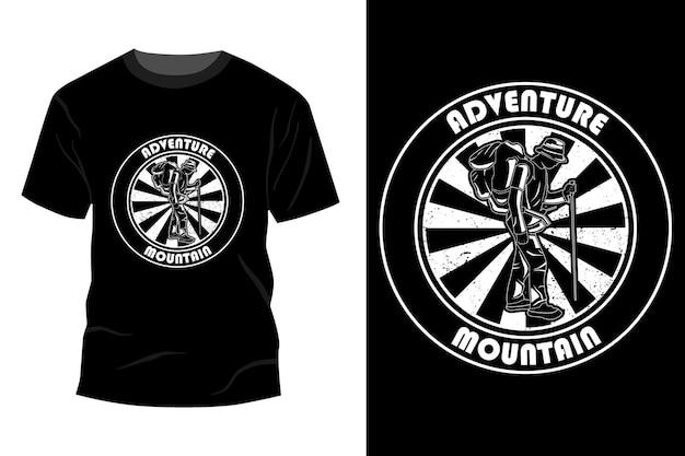 Adventure mountain t-shirt mockup ontwerp silhouet