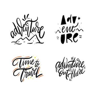Adventure set collectie. hand getekend vector belettering. op wit wordt geïsoleerd