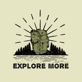 Adventure travel rugzak hand getrokken logo