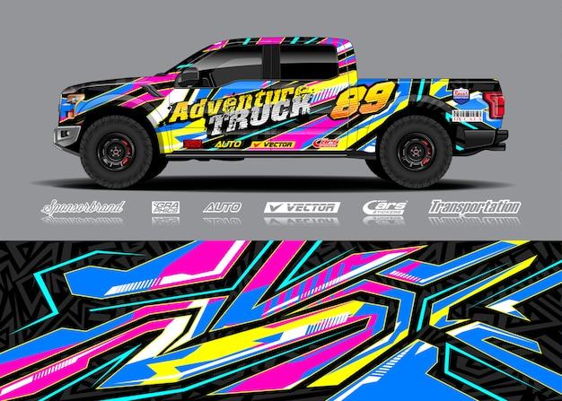 Adventure voertuig wrap illustratie