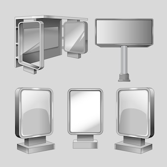 Adverteer billboards vector sjablonen set. promotie en zakelijk, commercieel bord voor marketingillustratie