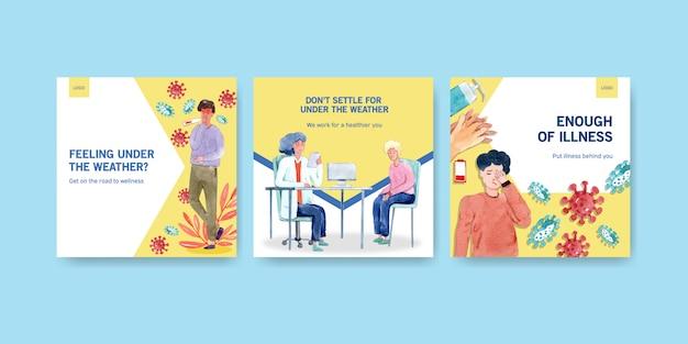 Adverteer of brochureontwerp met informatie over de ziekte en de gezondheidszorg