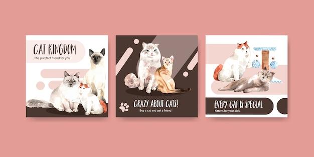 Adverteer sjablonen met katten