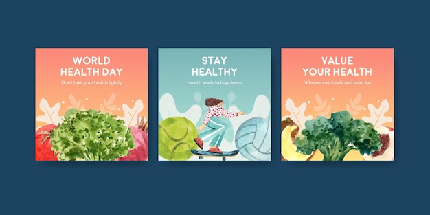 Adverteer sjablonen voor wereldgezondheidsdag in aquarelstijl
