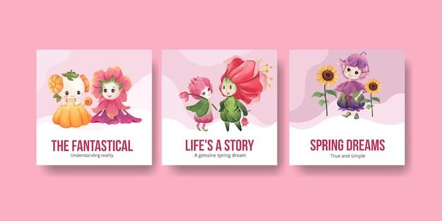 Adverteer sjabloon met bloemen karakter concept aquarel illustratie