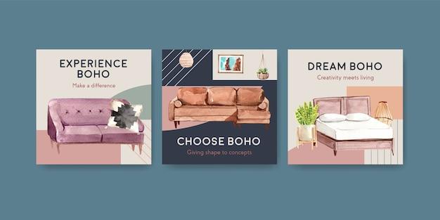 Adverteer sjabloon met boho meubelen conceptontwerp voor marketing aquarel illustratie