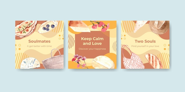 Adverteer sjabloon met europese picknick conceptontwerp voor marketing aquarel illustratie.