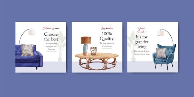 Adverteer sjabloon met jassa meubelconceptontwerp voor adverteren en marketing aquarel vectorillustratie