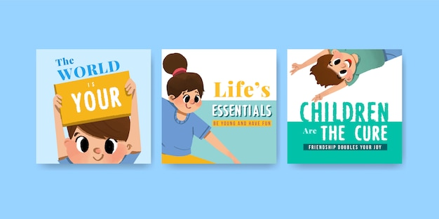 Adverteer sjabloon met jeugddagontwerp voor folder en adverteer aquarel