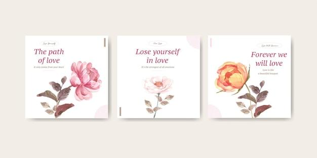 Adverteer sjabloon met liefde bloeiende conceptontwerp voor zakelijke en marketing aquarel illustratie