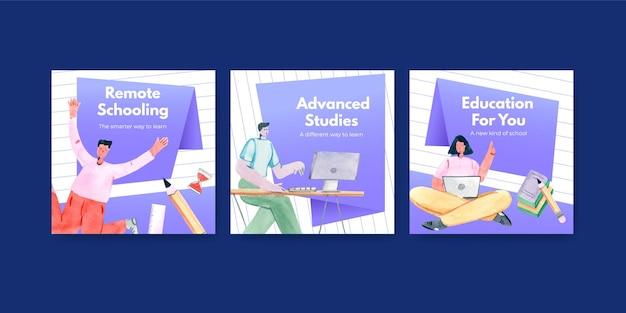 Adverteer sjabloon met online leerconcept