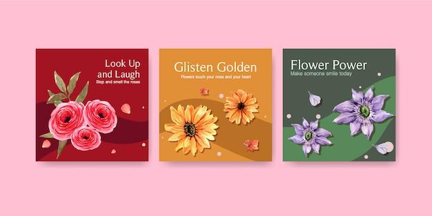 Adverteer sjabloon met ontwerp met zomerbloemen